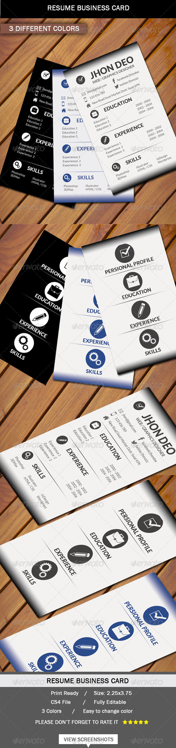 GraphicRiver Business Card Resume Style 6394986
