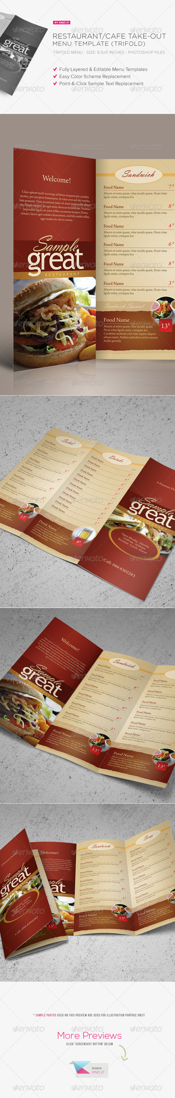 Restaurant / Cafe Take-out Menu Template - Food Menus Print Templates