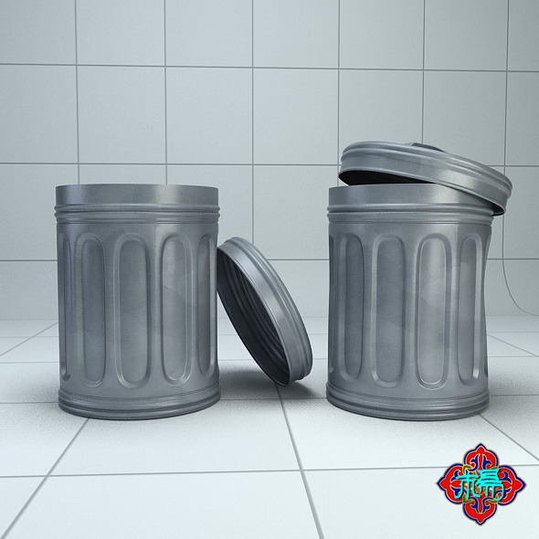 Trash can(Highploy version) - 3DOcean Item for Sale