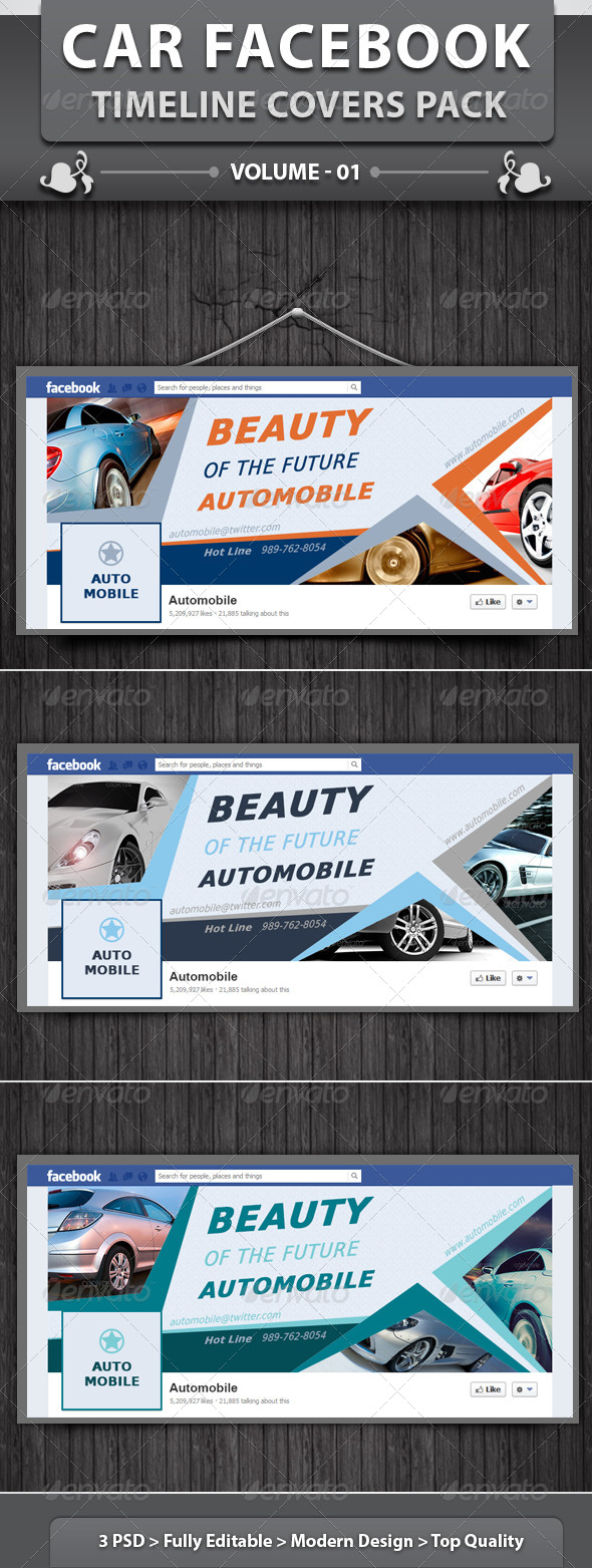 GraphicRiver Car Facebook Timeline Covers Pack v1 6395298