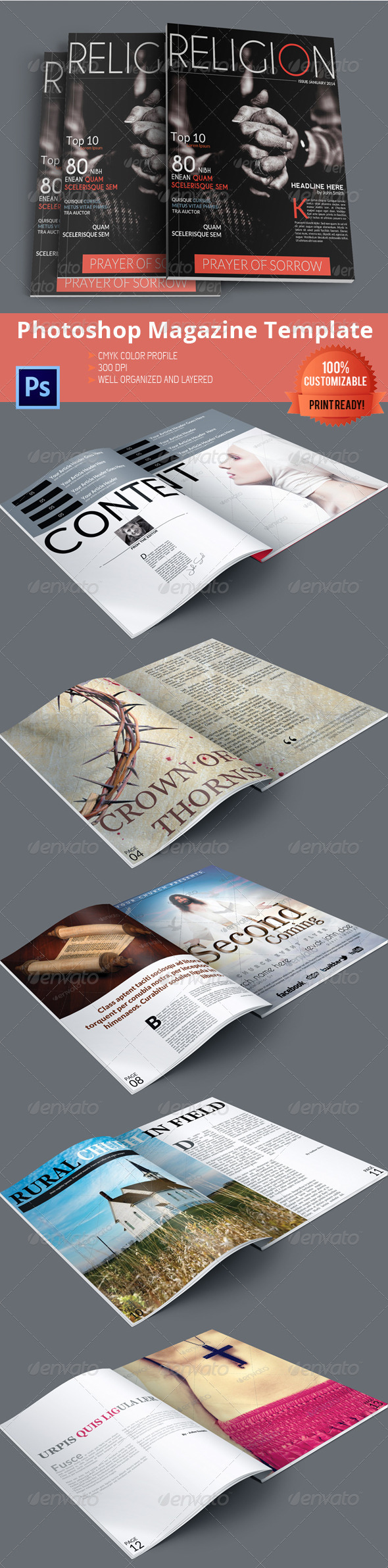 GraphicRiver Religion Magazine Template 6395368