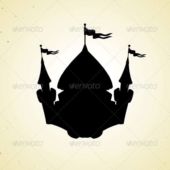 Silhouette of Cartoon Fortified Castle with Flags.