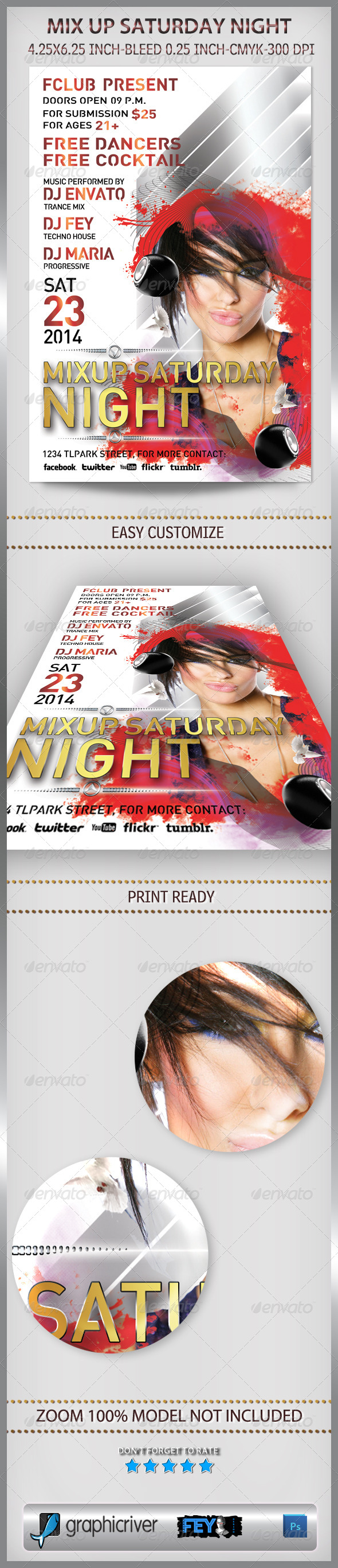 GraphicRiver Mix Up Saturday Night Party Flyer 6365738