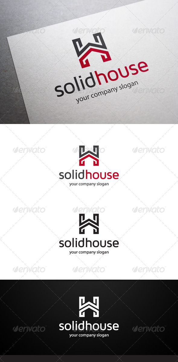 GraphicRiver Solid House H Letter Logo 6396391