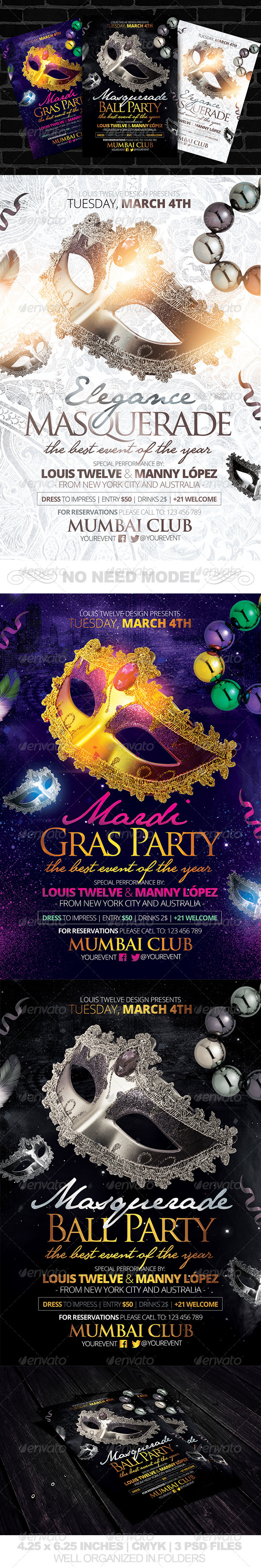 GraphicRiver Masquerade Ball Mardi Gras Party Flyers Template 6396796