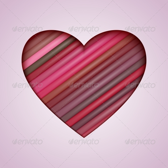 GraphicRiver Vector Heart Made from Color Stripes 6397065