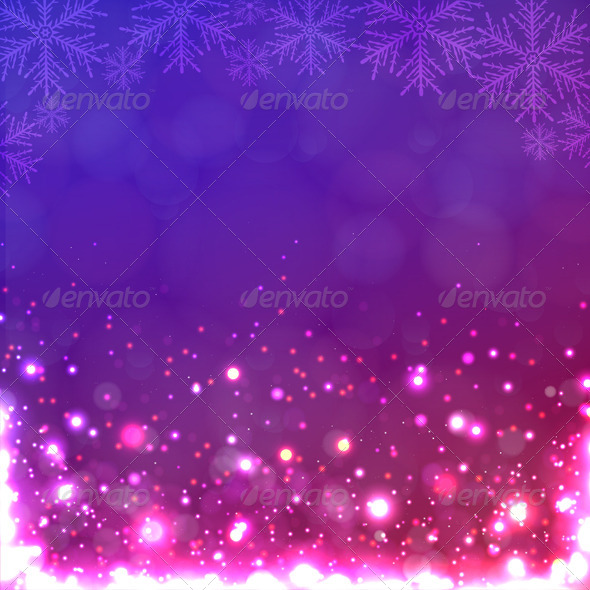 GraphicRiver Lights on Purple Background with Snowflakes 6397113