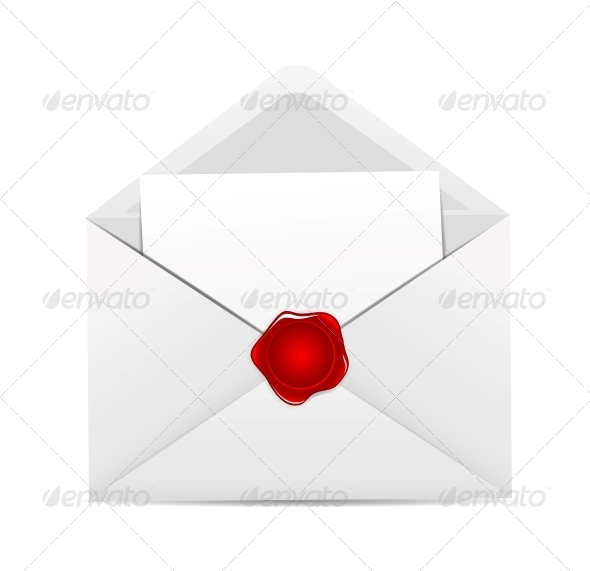 GraphicRiver White Envelope Icon with Red Wax Seal 6397291