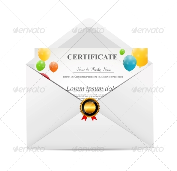 GraphicRiver White Envelope with Certificat Vector Illustration 6397294