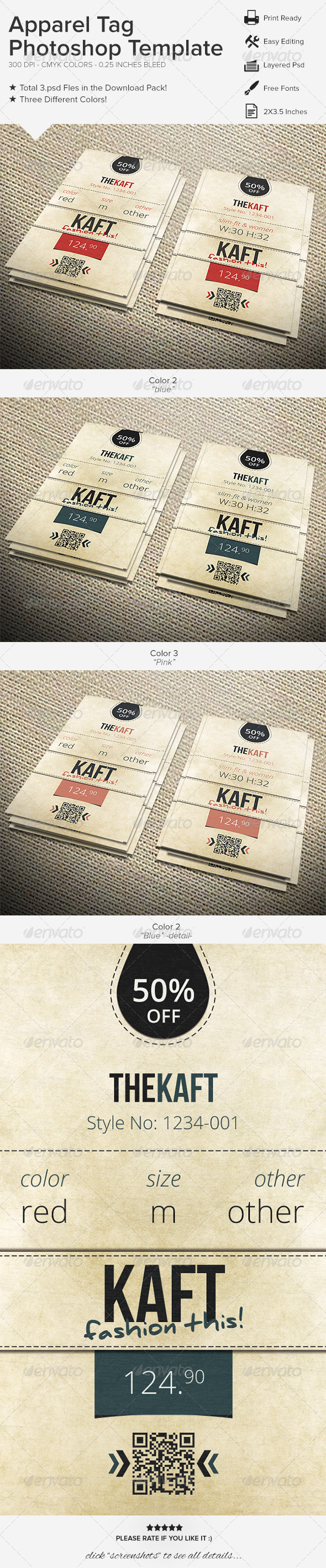 GraphicRiver Apparel Tag Photoshop Template 6398003