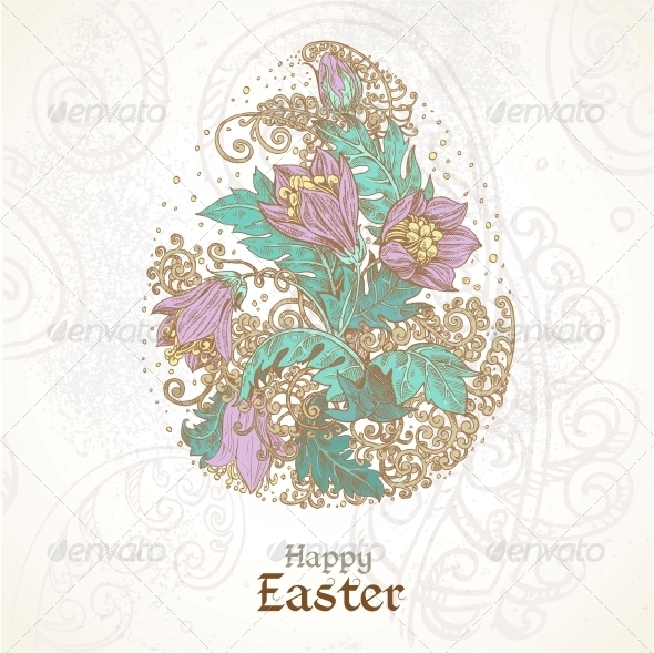 GraphicRiver Easter Background with Delicate Egg From Flowers 6398086