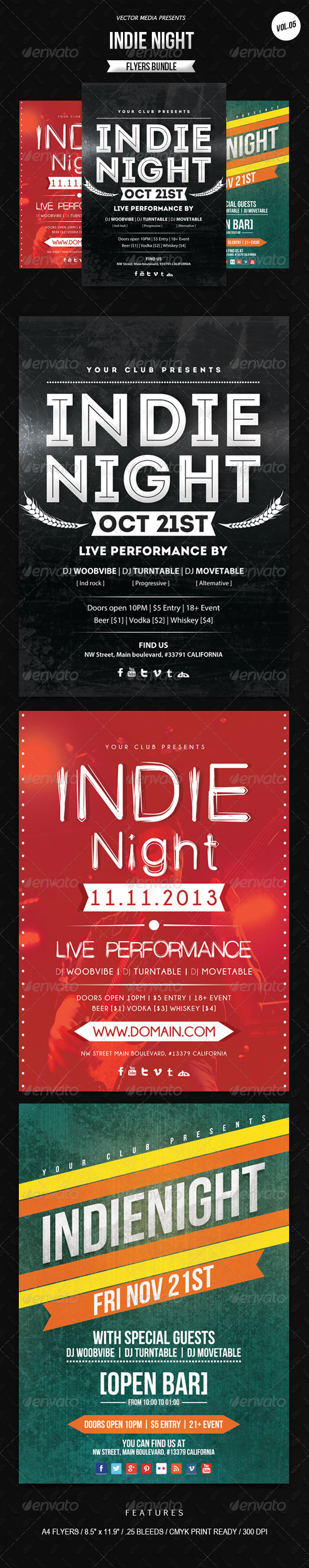 GraphicRiver Indie Night Flyers Bundle [Vol.5] 6398139