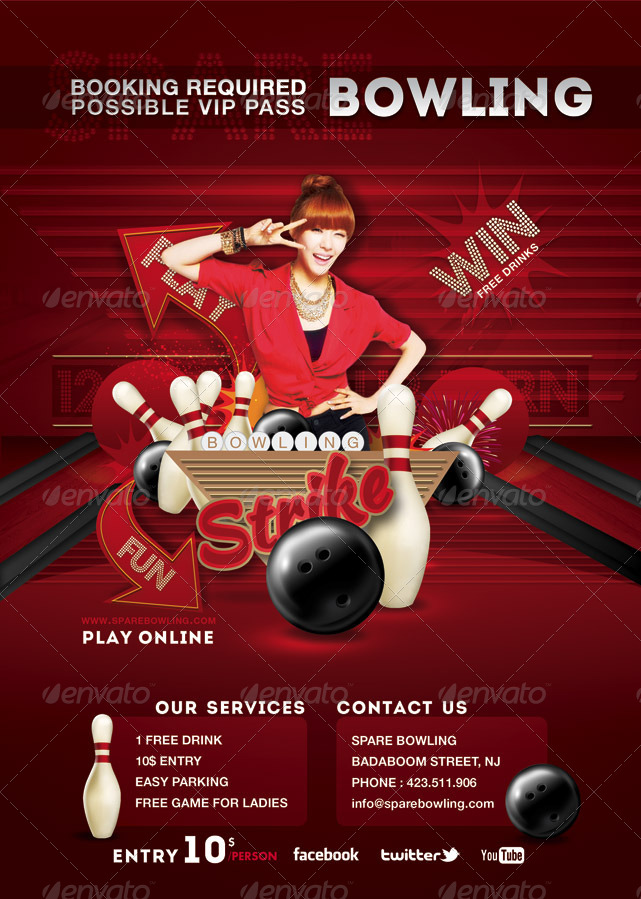 Flyer Bowling Evening Game Party by n2n44 – Bowling Flyer Template