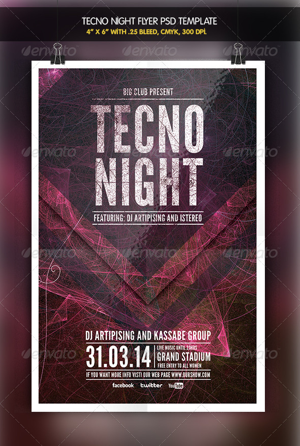 GraphicRiver Tecno Night Party Flyer 6342098