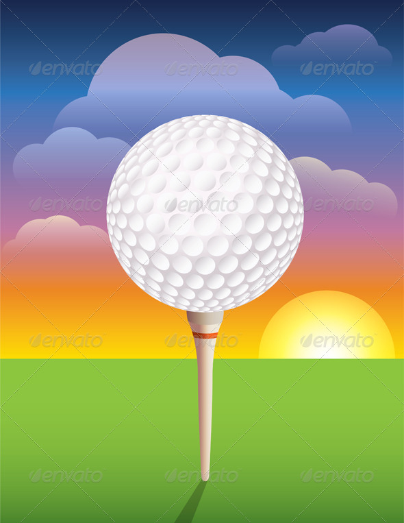 GraphicRiver Vector Golf Ball on Tee Background 6399320