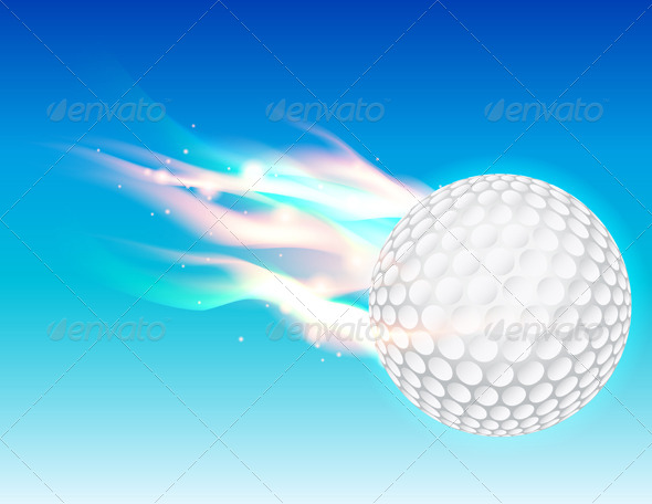 GraphicRiver Vector Flaming Golf Ball in Sky 6399333