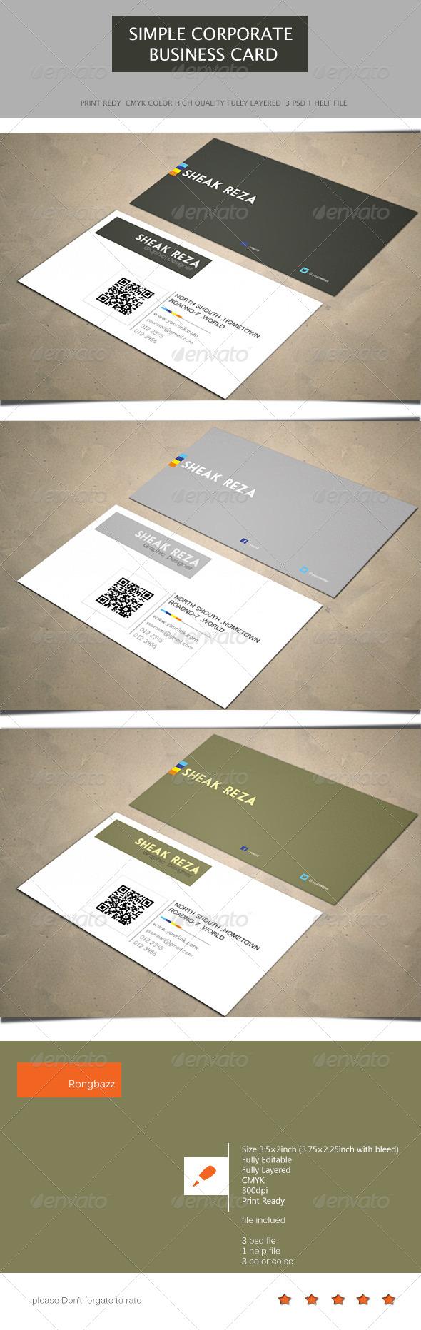 Simple Corporate Business Card 1.0 - Corporate Business Cards