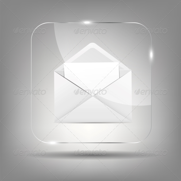 Mail Icon in Glass Button