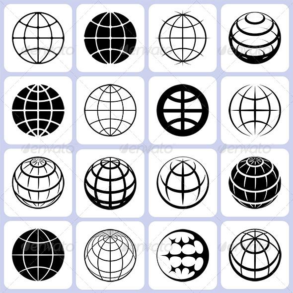 GraphicRiver 16 Globe Icons Set 6400237