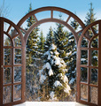open arched door with views of the natural landscape - PhotoDune Item for Sale