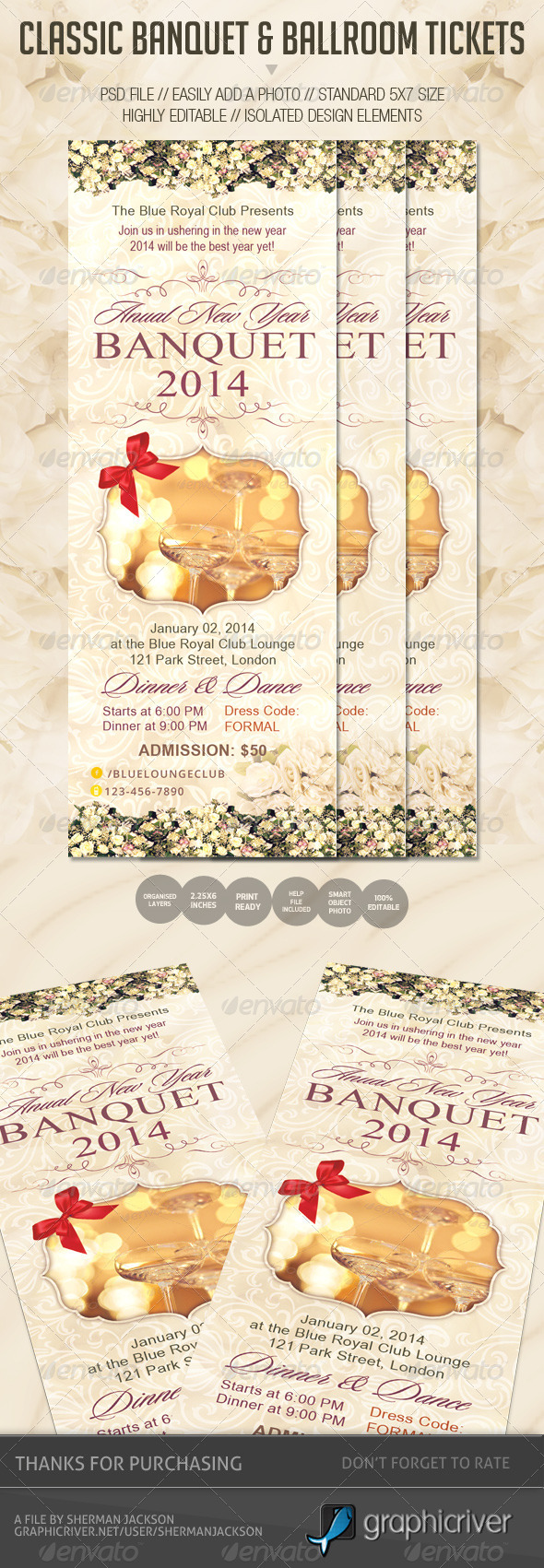 GraphicRiver Classic Banquet & Ballroom Tickets 6400385