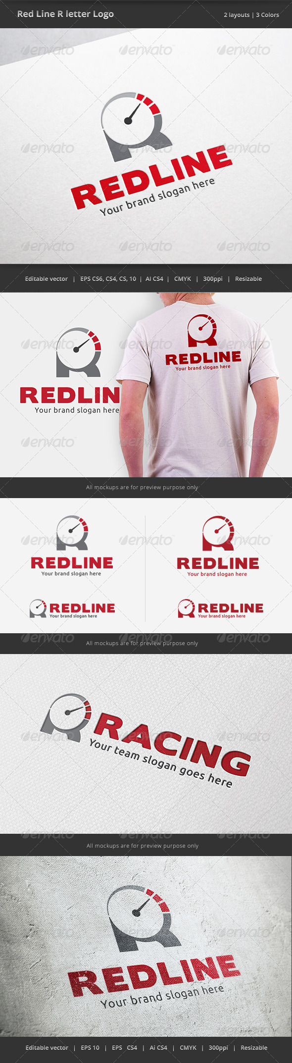 GraphicRiver Red Line R Letter Logo 6400490