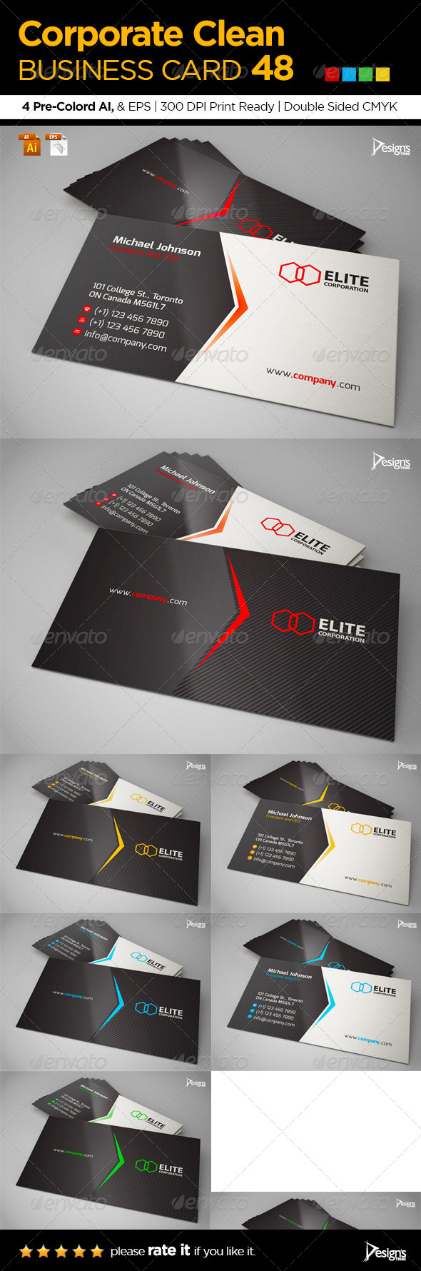 GraphicRiver Corporate Clean Business Card 48 6400575