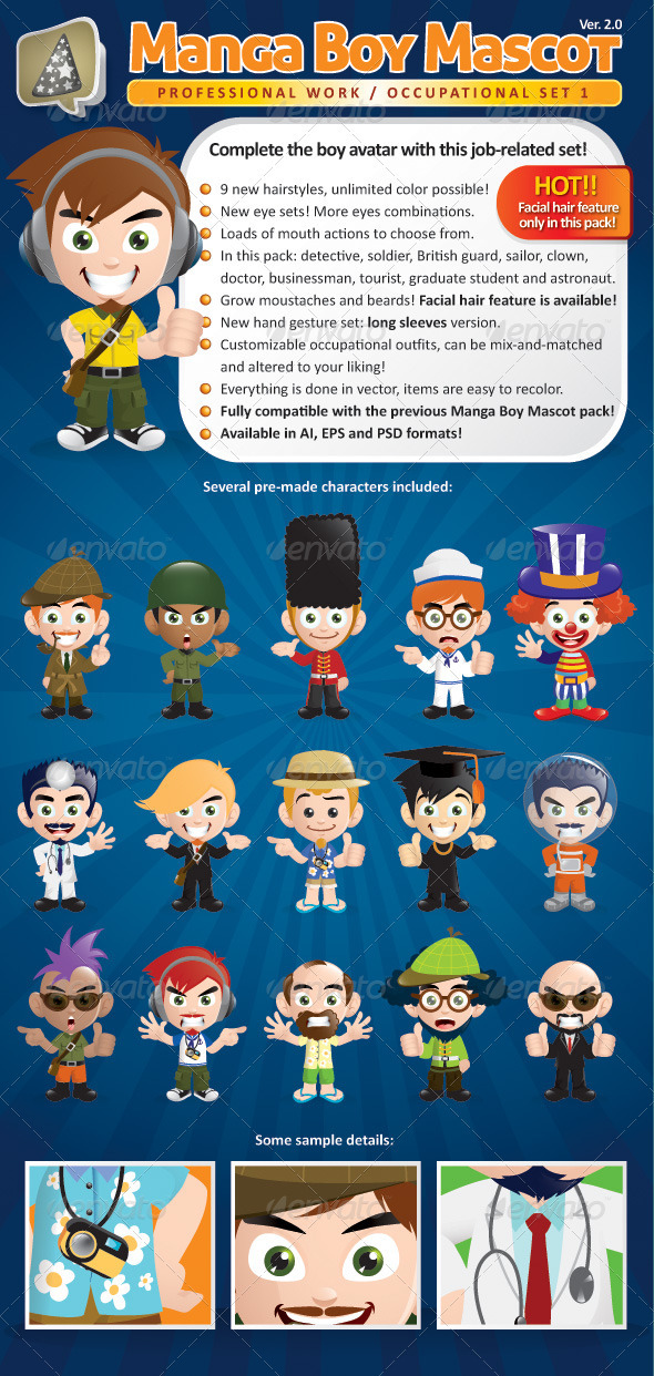 Manga Boy Mascot Creation Kit - Occupational Set - Characters Vectors