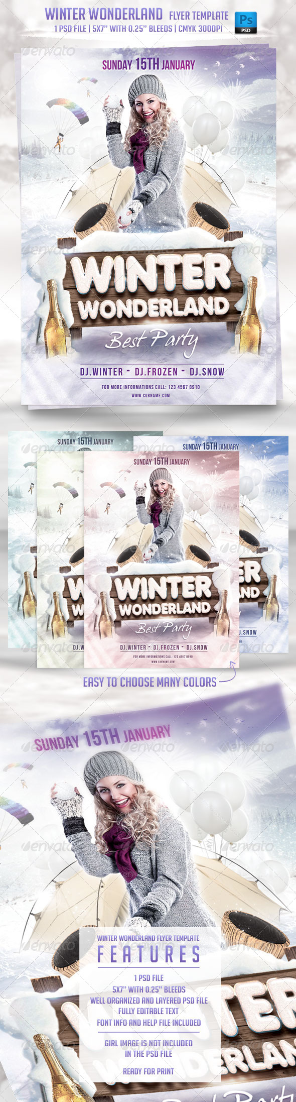 GraphicRiver Winter Wonderland Flyer Template 6400891