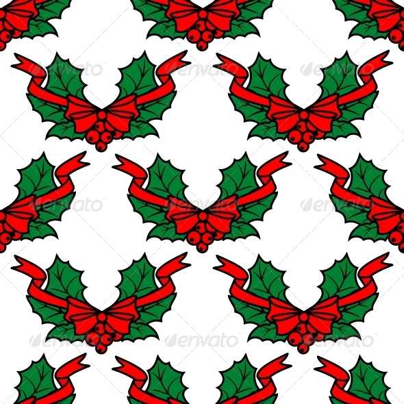 GraphicRiver Christmas Holly Seamless Pattern Background 6401308