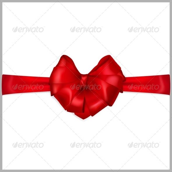 Red Bow Heart Shaped - Decorative Symbols Decorative
