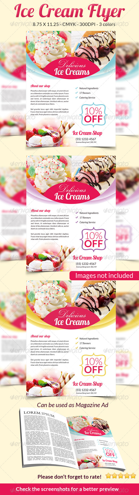 GraphicRiver Ice Cream Flyer Magazine Ad 6401735