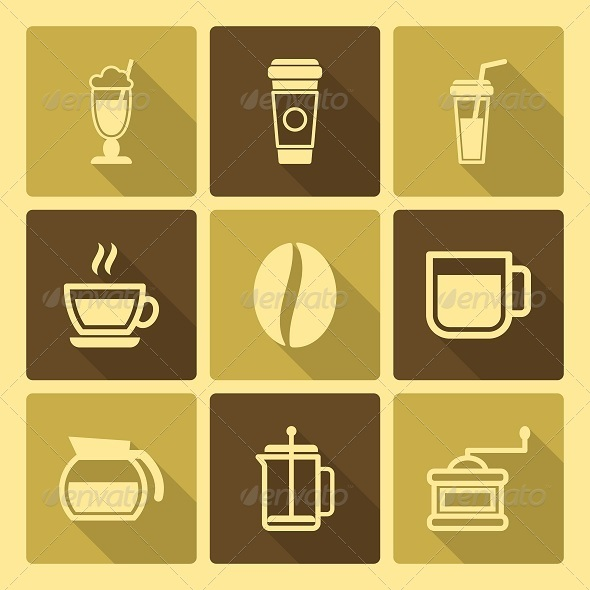 GraphicRiver Coffee Drinks Icons With Long Shadow 6402052