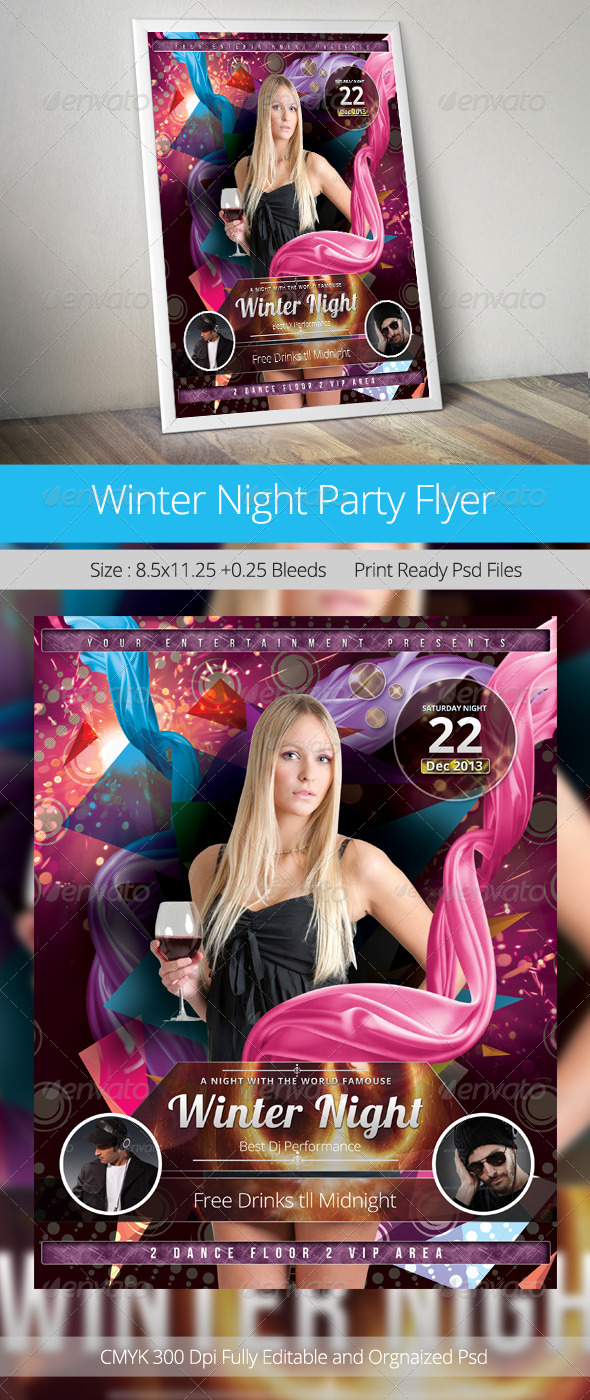 GraphicRiver Winter Night Party Flyer Template 6362921