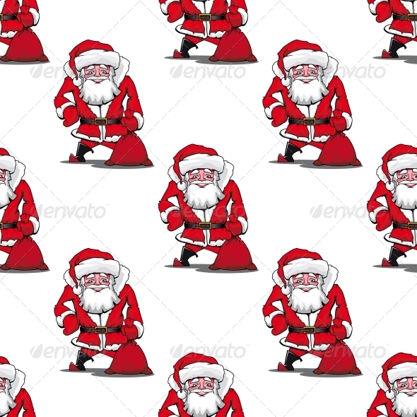 GraphicRiver Seamless Pattern with Cartoon Santa Claus 6403537