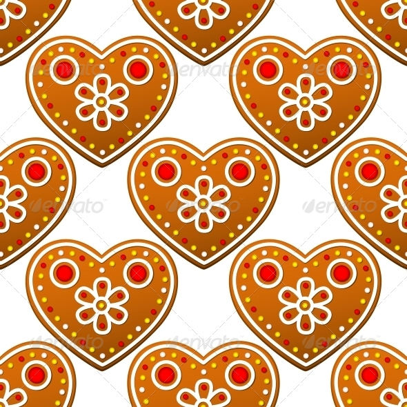 GraphicRiver Gingerbread Cookies Seamless Pattern with Hearts 6404672