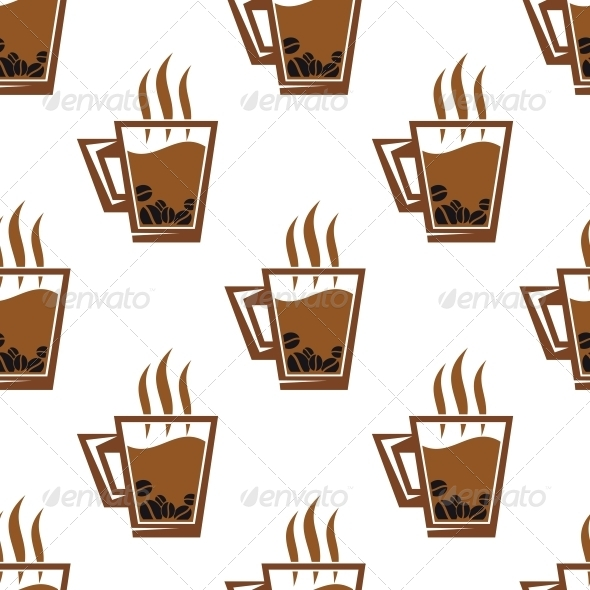 GraphicRiver Seamless Pattern Background with Coffee Cups 6404731