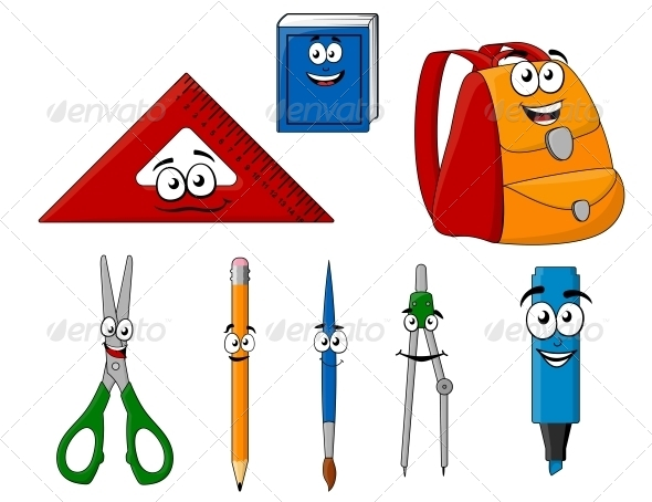 GraphicRiver School Supplies and Objects in Cartoon Style 6404751