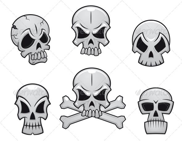 GraphicRiver Cartoon Skulls Set 6405179