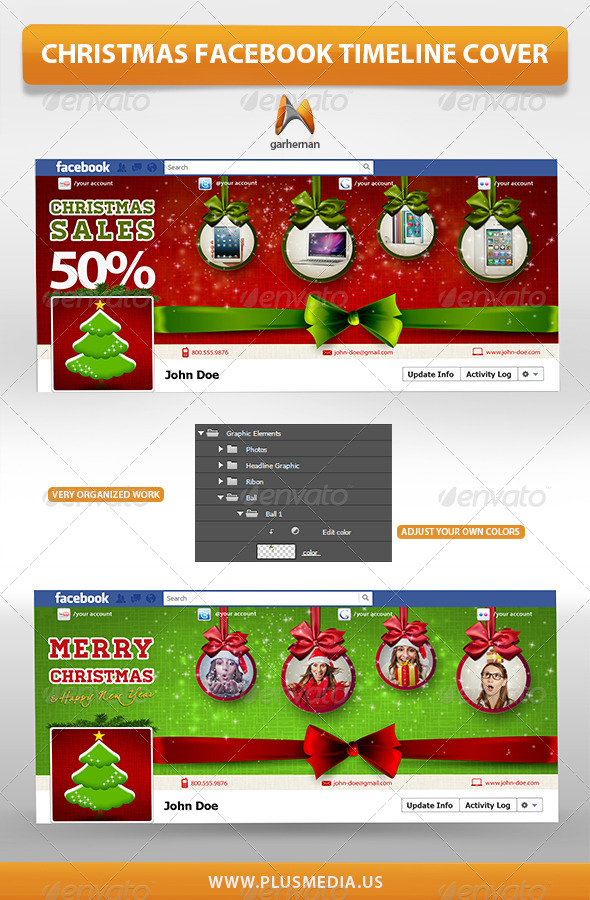 GraphicRiver Christmas Facebook TimeLine Cover 6405511