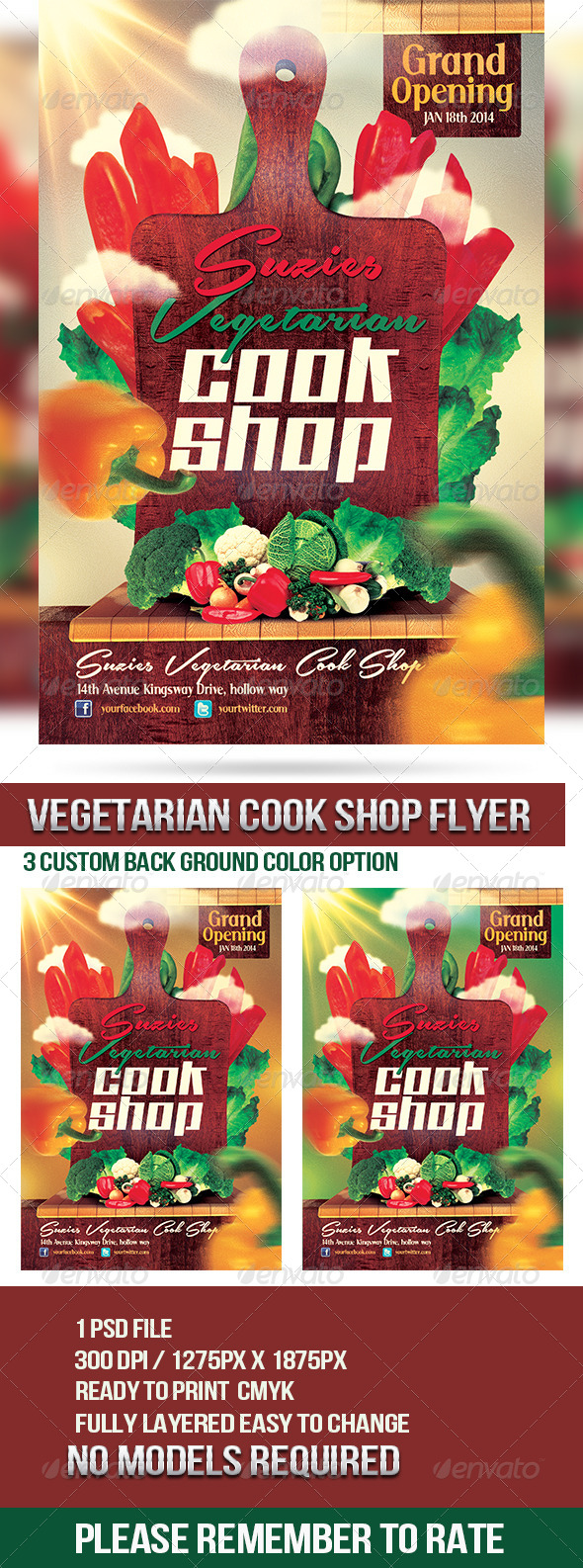 GraphicRiver Vegetarian Cook Shop Promotional Flyer 6405531