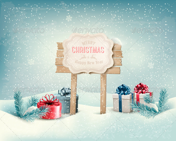 GraphicRiver Christmas Winter Background with Presents 6405673