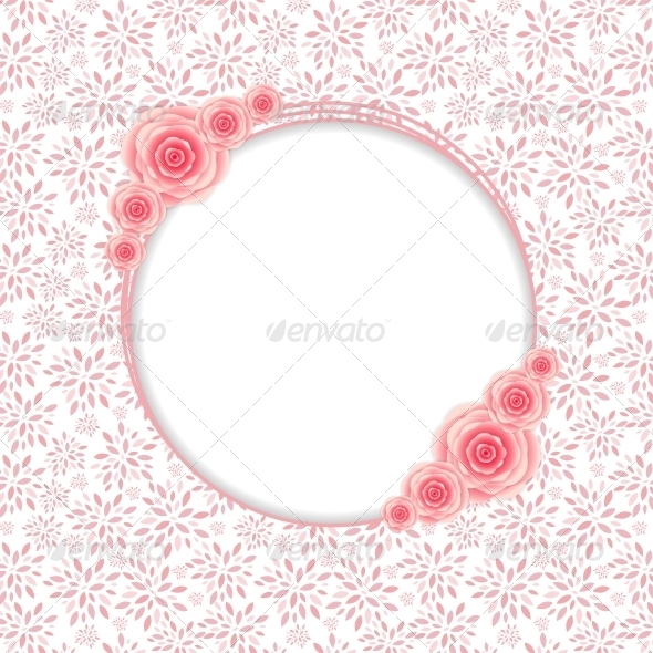 GraphicRiver Frame with Rose Flowers Vector Illustration 6405714