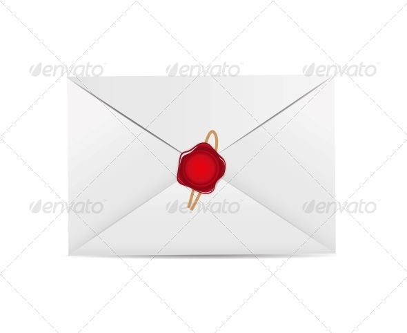 GraphicRiver White Envelope Icon with Wax Seal Vector 6405717