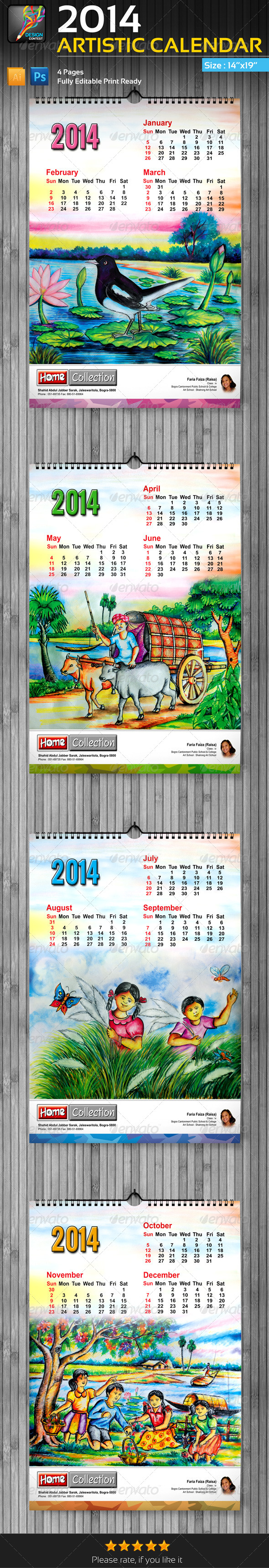 GraphicRiver 2014 Artistic Wall Calendar 4 Pages 6405885