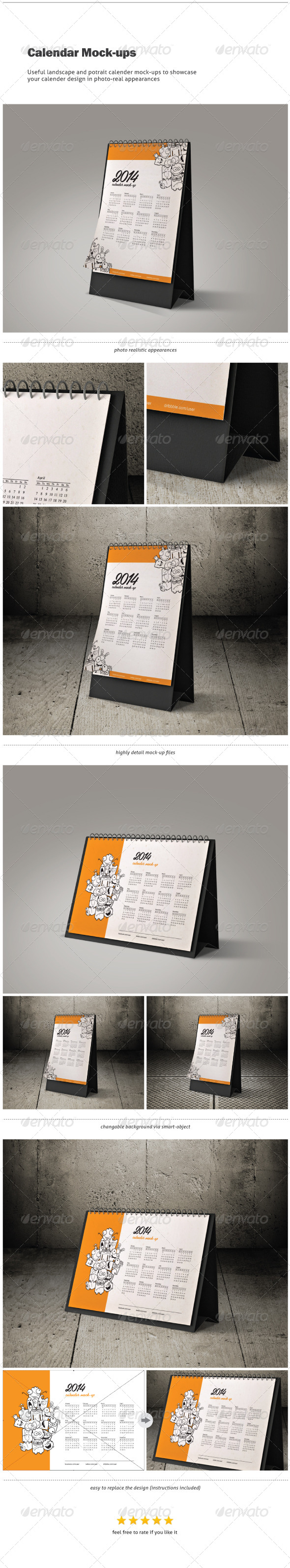 GraphicRiver Calendar Mock-ups Landscape and Portrait 6405904