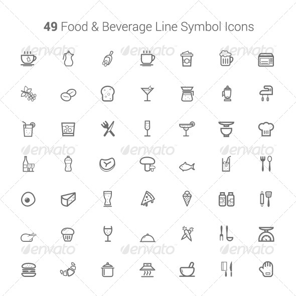 GraphicRiver 49 Food and Beverage Line Symbol Icons 6405911