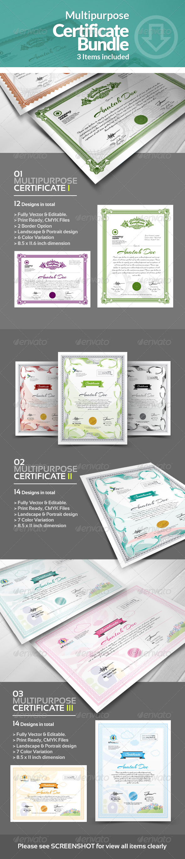 GraphicRiver Multipurpose Certificates Bundle 6405967