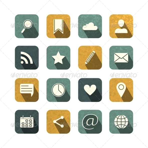 GraphicRiver Vintage Social Media Icons Set 6406236