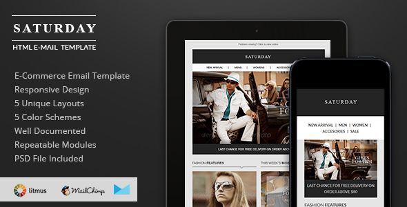 ThemeForest Saturday E-Commerce Responsive Email Template 6406244